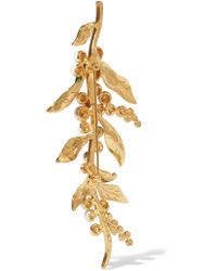 Oscar de la Renta - Green Enameled Gold-plated Brooch - Lyst