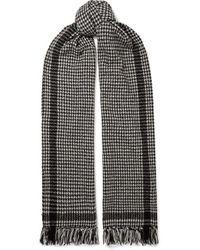 Saint Laurent Black Fringed Houndstooth Wool-blend Scarf