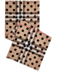 Burberry - Multicolor Polka-dot Checked Wool And Silk-blend Scarf - Lyst