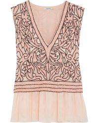 Ganni Pink Fluted Sequin-embellished Tulle Top