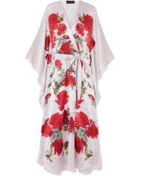 Meng - Red Printed Silk-satin Robe - Lyst