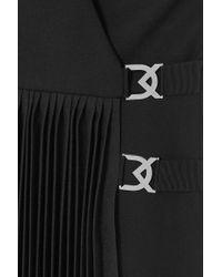 David Koma Black Minikleid Aus Woll-crêpe Mit Plissee Und Verzierungen