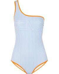 Fendi - Blue One-shoulder Printed Swimsuit - Lyst