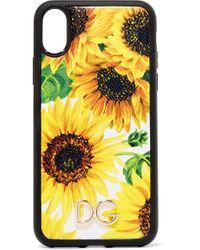Coque Pour Iphone X Et Xs En Cuir Texturé À Imprimé Fleuri Dolce & Gabbana en coloris Yellow