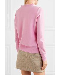 J.Crew - Pink Ruffle-trimmed Cotton-blend Sweater - Lyst