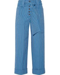 Tory Burch | Blue Robin Pinstriped Cotton-blend Seersucker Culottes | Lyst