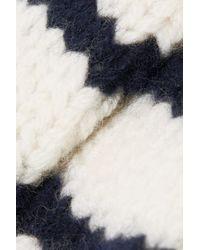 Rag & Bone White Gestreifte Fäustlinge Aus Wolle