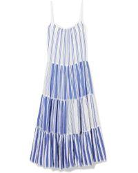 Lemlem Blue Alfie Tiered Striped Cotton-voile Maxi Dress