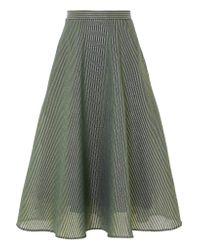 Cefinn Green Striped Metallic Cotton-blend Midi Skirt