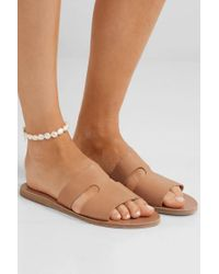 Ancient Greek Sandals Natural Apteros Pantoletten Aus Leder Mit Cut-outs
