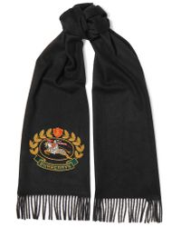 Burberry Blue Embroidered Cashmere Scarf