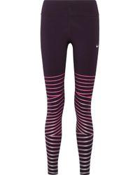 Nike - Purple Power Epic Lux Metallic Striped Dri-fit Stretch Leggings - Lyst