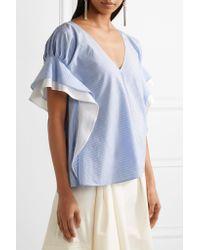 ADEAM Blue Ruffle-trimmed Striped Cotton-poplin Top