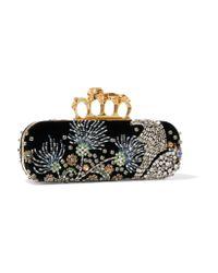 Alexander McQueen Black Knuckle Embellished Velvet Clutch