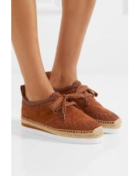 See By Chloé - Leather-trimmed Suede Epsadrille Sneakers Light Brown - Lyst