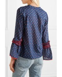 J.Crew Blue Ludwig Embroidered Printed Cotton And Silk-blend Blouse