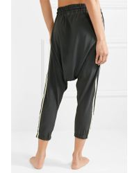 Olympia Black Alix Cropped Washed-silk Track Pants