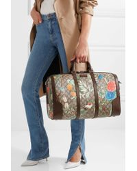 Gucci Natural Leather-trimmed Printed Coated-canvas Weekend Bag