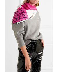 Loewe - Pink Anagram Color-block Silk-twill Scarf - Lyst