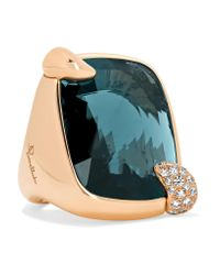 Pomellato Metallic Ritratto 18-karat Rose Gold, Topaz And Diamond Ring