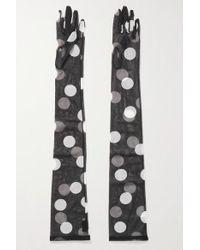 Dries Van Noten Black + Christian Lacroix Handschuhe Aus Stretch-tüll Mit Polka-dots