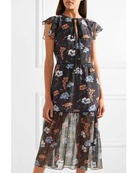 Markus Lupfer - Black Belle Floral-print Silk Crepe De Chine And Chiffon Midi Dress - Lyst