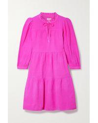 Honorine Pink Giselle Minikleid Aus Baumwoll-seersucker Mit Rüschen