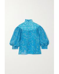 Yvonne S Blue Queen Victoria Ruffled Floral-print Linen Blouse