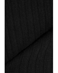 Allude Black Ribbed Cashmere Turtleneck Sweater