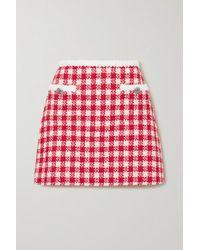 Miu Miu Red Checked Wool And Cotton-blend Tweed Mini Skirt