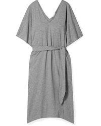 Eberjey Gray Charlie Kleid Aus Flammgarn-jersey Aus Pima-baumwolle Mit Gürtel