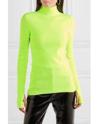 Pull À Col Montant En Coton Côtelé Neon Helmut Lang en coloris Green