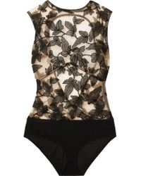 I.D Sarrieri Black Fleur Interdit Open-back Embroidered Stretch-tulle And Jersey Bodysuit