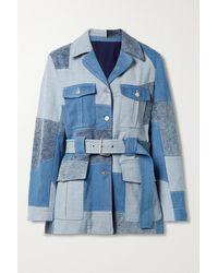 Stella McCartney Blue + Net Sustain Jeansjacke Aus Bio-denim Mit Gürtel In Patchwork-optik