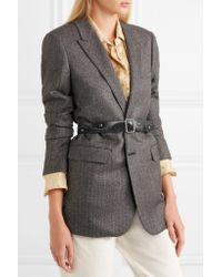 Saint Laurent - Black Studded Suede And Leather Waist Belt - Lyst