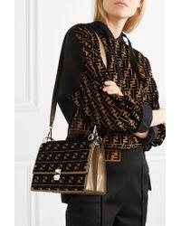 Fendi - Brown Kan I Flocked Leather Shoulder Bag - Lyst