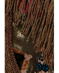Anna Sui - Metallic Fringed Flocked Lamé Midi Skirt - Lyst