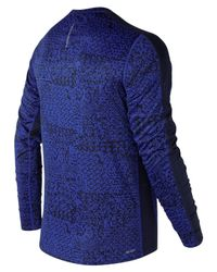 New Balance - Blue Accelerate Graphic Long Sleeve for Men - Lyst