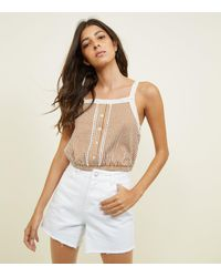 New Look Natural Cream Stripe Lace Trim Button Front Cami