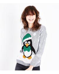 Mela Gray Grey Christmas Penguin Jumper