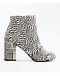 New Look Black Houndstooth Check Block Heel Ankle Boots