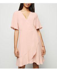 New Look Petite Pink Ruffle Wrap Dress