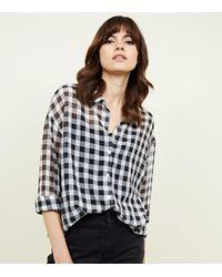 New Look Black Gingham Crepe Chiffon Shirt