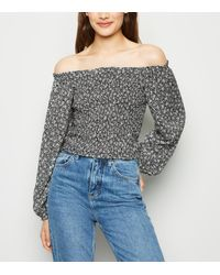 New Look Black Ditsy Floral Shirred Long Sleeve Bardot Top