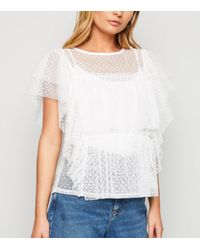 New Look Off White Spot Mesh Tiered Top