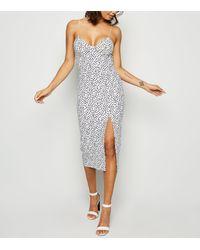 New Look White Spot Print Bodycon Midi Dress