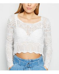 New Look Off White Pointelle Knit Long Sleeve Jumper