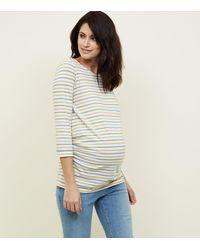 New Look Maternity White Stripe 3/4 Sleeve T-shirt