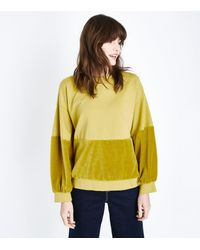 Lulua London Yellow Velvet Panel Sweater
