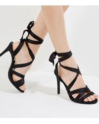 New Look Wide Fit Black Satin Tie Up Strappy Heels